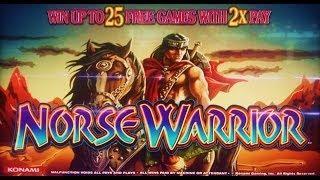 Konami Gaming - Norse Warrior Slot Bonus&Line Hit Wins MAX BET