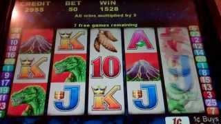 Dinosaur Slot Machine Bonus - 15 Free Spins with Multiplier Feature (x3) - Nice Win