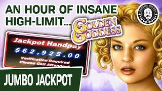 ★ Slots ★ INSANE HIGH-LIMIT JACKPOTS! ★ Slots ★ Almost ONE HOUR of Golden Goddess Slots