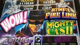 ZORRO Mighty Cash BONUS * ULTIMATE FIRE LINK * Slot Machine Pokies