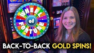 WOW!! Back 2 Back Gold Spins And First Spin BONUS! Wheel of Fortune Gold Spin Slot Machine!!
