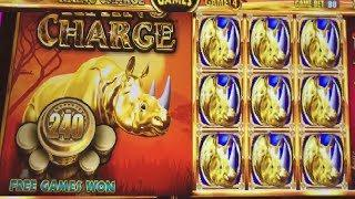 240 FREE GAMES RHINO CHARGE WONDER 4 BOOST SLOT MACHINE!