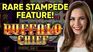 SUPER RARE STAMPEDE FEATURE! Buffalo Chief Slot Machine! BONUS!
