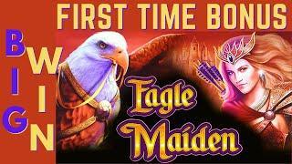 BIG WIN on EAGLE MAIDEN SLOT MACHINE POKIE!  PLUS 2 MORE EAGLE SLOT MACHINES!