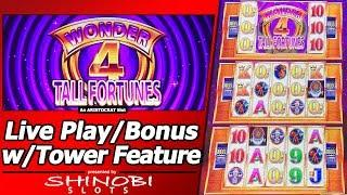 Wonder 4 Tall Fortunes Slot - Live Play, Free Spins Bonuses and Tower Feature
