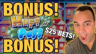 ⋆ Slots ⋆ $25 BET HUFF N' PUFF - 2 BONUSES!! ALL ABOARD & CASH MACHINE!!