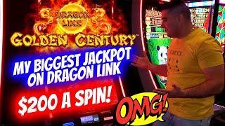 My LARGEST JACKPOT Ever On Dragon Link Slot Machine -$200 A Spin | Slot Machine Mega Handpay Jackpot