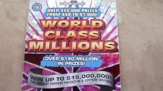 Scratching a $30 Instant Lottery Scratchcard Ticket - World Class Millions
