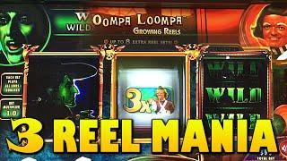 3 REEL SLOTS WINS!!! Willy Wonka | Wizard of Oz | Godfather Slot Machine Big Win Bonus WMS Slots