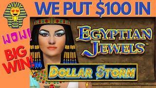 $100.00 IN & SUPER BIG CASHOUT on DOLLAR STORM EGYPTIAN JEWELS SLOT MACHINE POKIES - PECHANGA CASINO