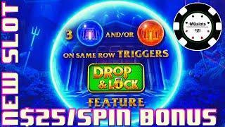 •Drop & Lock Deep Sea Magic •HIGH LIMIT $25 BONUS ROUND LOCK IT LINK SLOT MACHINE CASINO •