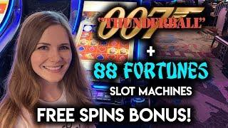 88 Fortunes Slot Machine Bonus! James Bond Thunderball Chip Re-Spin!