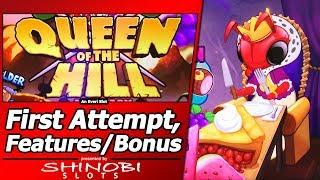 Queen of the Hill Slot - Live Play, Random Features, Picking Bonus and Free Spins