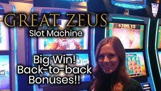 Great Zeus Slot Machine! Big Win!!! Back to Back Bonuses!!!