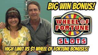 BIG WIN! WHEEL OF FORTUNE SLOT MACHINE $1 Vs $5 dollar denomination