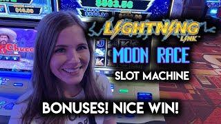 Winning on Lightning Link Moon Race Slot Machine!! Free Spins and Hold & Spin BONUSES!!