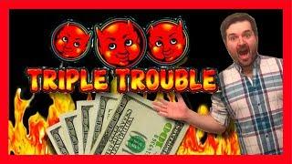 Triple The Trouble TRIPLE THE FUN! BIG WINNING On Triple Trouble Slot Machine Bonus With SDGuy1234!