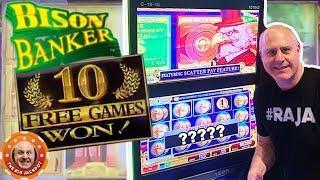 •BONUS FEATURE WON! • High Limit Diamond Raider + Bison Banker JACKPOT HIT! •