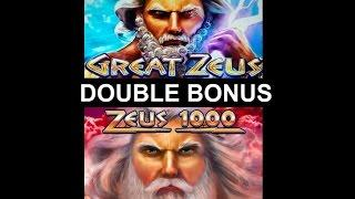 DOUBLE BONUS ** GREAT ZEUS Slot VS ZEUS 1000 Slot ** - Who Will WIN?! WMS Slot Machines
