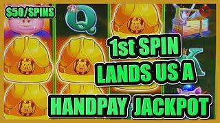 HIGH LIMIT Lock It Link Huff N' Puff 1ST SPIN HANDPAY JACKPOT ⋆ Slots ⋆$25 Bonus Round Slot Machine