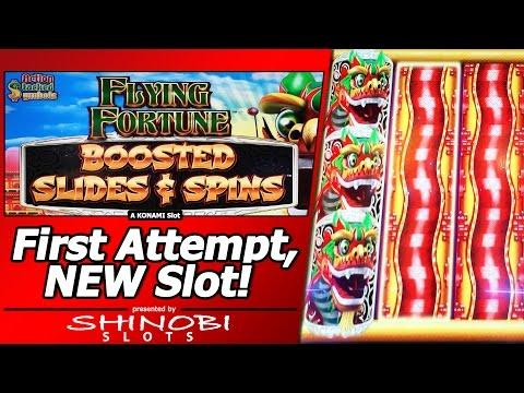 Flying Fortune: Boosted Slides and Spins - First Attempt, Live Play and Feature, New Konami game