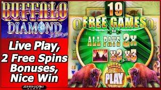 Buffalo Diamond Slot - Live Play, 2 Free Spins Bonuses, Nice Win
