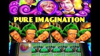 PURE IMAGINATION- WILLY WONKA slot machine Oompa Loompa WINS (2 videos)