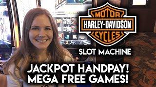 FIRST JACKPOT HANDPAY on Youtube for Harley Davidson Slot Machine! MEGA FREE GAMES! MAX BET!