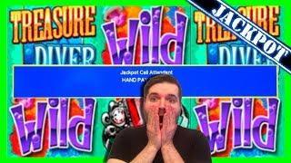 JACKPOT HAND PAY Treasure Diver Slot Machine MASSIVE JACKPOT BONUS on $15 Max Bet W/ SDGuy1234