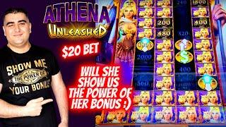 High Limit Athena Unleashed Slot Machine RE-SPIN FEATURE & POWER UPS ! Live Slot Play ! EP-25