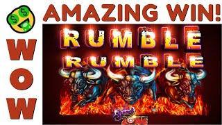 WHOA! ⋆ Slots ⋆ SUPER BIG WIN! FULL SCREEN OF WILDS on RUMBLE RUMBLE SLOT MACHINE POKIE