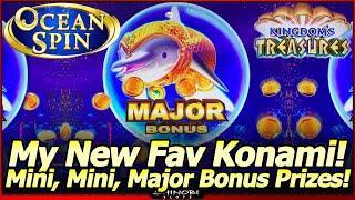 Ocean Spin Kingdom's Treasures Slot Machine - MINI, MINI, MAJOR Bonus Prizes!  My New Fav Konami!