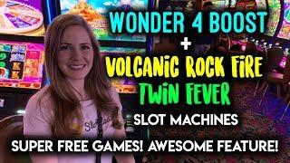 Wonder 4 Boost Super Free Games! Awesome Feature Win on Volcanic Rock Fire Slot Machine!!