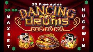 $$$$ Dancing Drum $8.80 Max BET BIG WIN ON LAST SPIN BONUS $$$$