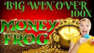 MAX BET• •MONEY FROG• BIG WIN• over 100x free spins• Progressive Hit•