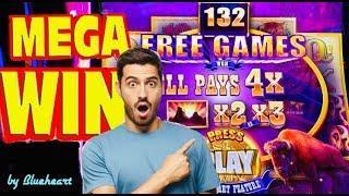 WOW! BUFFALO DIAMOND slot machine 132 FREE SPINS at 4x HUGE BONUS WIN!