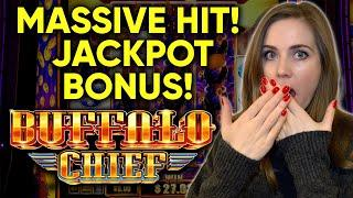 MASSIVE HIT! JACKPOT BONUS!! Buffalo Chief Slot Machine!