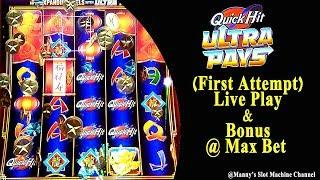 NEW !! ( First Attempt ) Quick Hits Ultra Pays Live Play and Bonus at Barona Casino Lakeside, CA