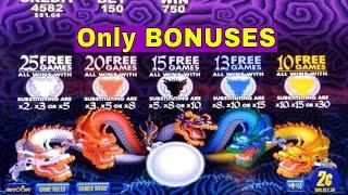 5 Dragons,Timber Wolf Deluxe, Buffalo Deluxe and Gold Pays Slot Machine Bonuses Won! Live Slot Play