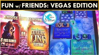 VEGAS WITH FRIENDS IS ALWAYS MORE FUN! AMAZING GROUP PICKING ON WIZARD OF OZ SLOT, LUXURY LINE