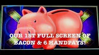 FULL SCREEN LOCK IT LINK •PIGGY BANKIN' (6) HANDPAYS  SLOT MACHINE MOHEGAN SUN
