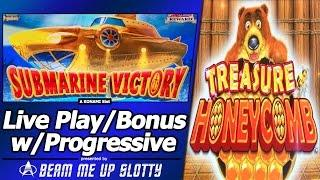Submarine Victory Slot - First Attempt w/Live Play, Bonus and Treasure Honeycomb feature