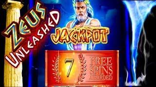 Major Jackpot! ZEUS UNLEASHED! Slot Machine Bonus and Multiple Feature action!!