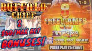 Buffalo Chief HIGH LIMIT (2) $50 MAX BET Bonus Rounds Slot Machine Casino