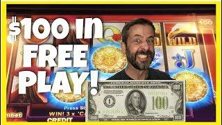 I HAVE $100 in FREE PLAY • LET'S PLAY IT ON 5 SLOTS $20 EACH • Lightning Link • Leprecoins