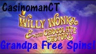 Willy Wonka - WMS Slot Machine Bonus - Grandpa Free Spins!