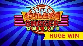 Triple Cheese Burger Deluxe Slot - $8 Max Bet Bonuses - AWESOME SESSION, ALL FEATURES!
