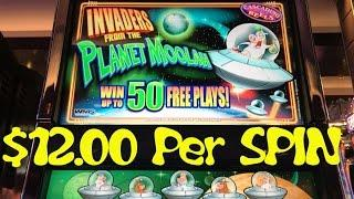 Invaders from the Planet Moolah $12.00/Spin Live Play WMS Slot Machine