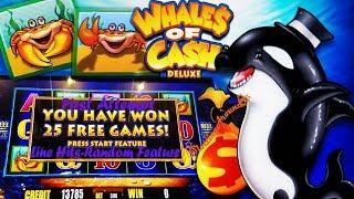 First attempt! Whales of Cash Deluxe slot machine! Nice slot win with line hits and bonuses