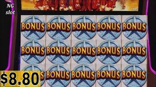 •$8.80 Max Bet •Longhorn Jackpots Slot Machine Bonus Won & Big Win Line Hit |Progressive Pick Bonus